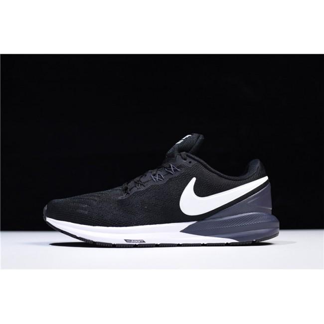 Mens Nike Air Zoom Structure 22 Black White-Gridiron