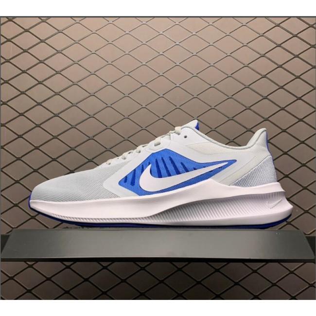 Mens Cheap Nike Downshifter 10 Pure Platinum Grey White Blue