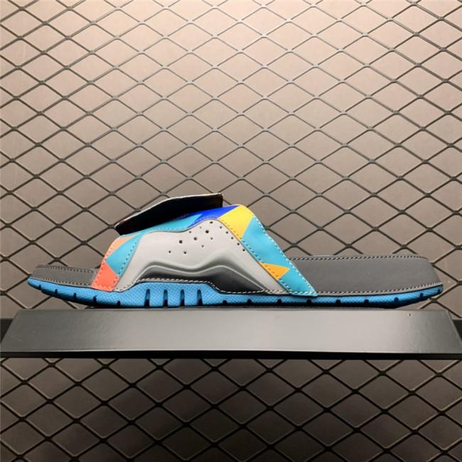 Mens Jordan 7 Hydro Grey/Turquoise-Grey-Orange Slides Slippers