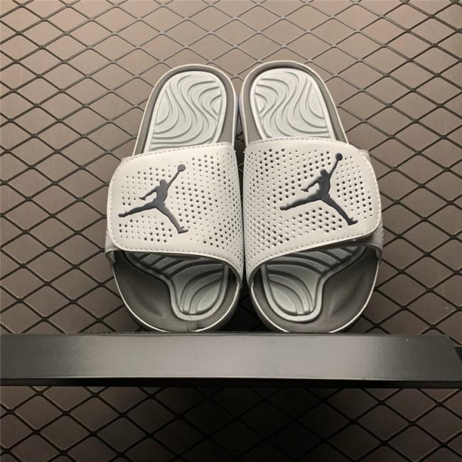 Mens Jordan Hydro 5 Retro White/Metallic Silver Slide Sandals