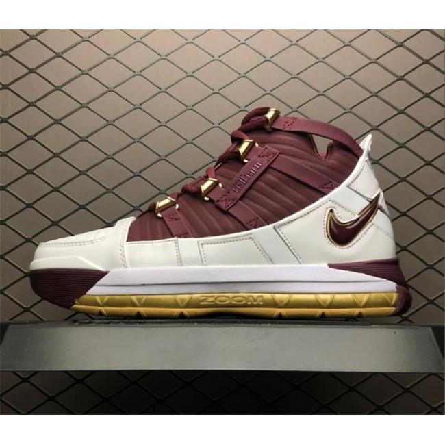 Mens Nike Zoom LeBron 3 Retro CTK Christ The King White Gold