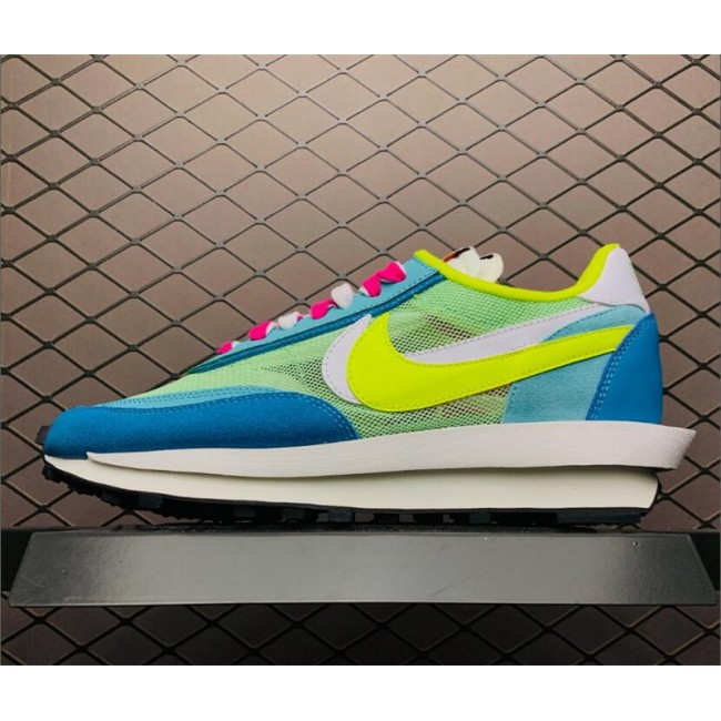 Mens/Womens Sacai x Nike LVD Waffle Daybreak Blue Green Yellow White
