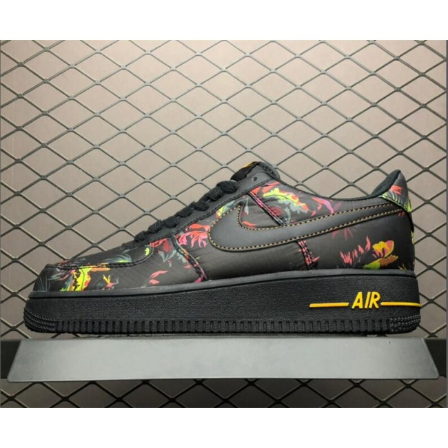 Mens/Womens Nike Air Force 1 Floral Black Multicolor-Canyon Gold