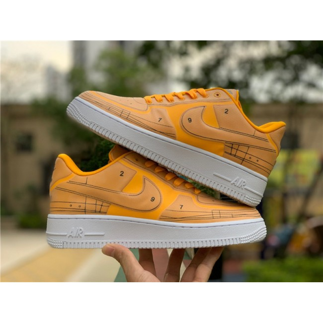Mens/Womens Nike AF1 Air Force 1 07 LX Sketch Laser Orange White