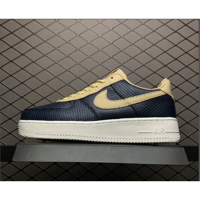 Mens/Womens Nike Air Force 1 Low Snakeskin Dark Blue Khaki