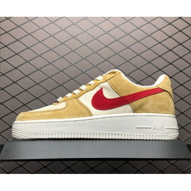 Mens/Womens Nike Air Force 1 Jersey Gold Sport Red-White