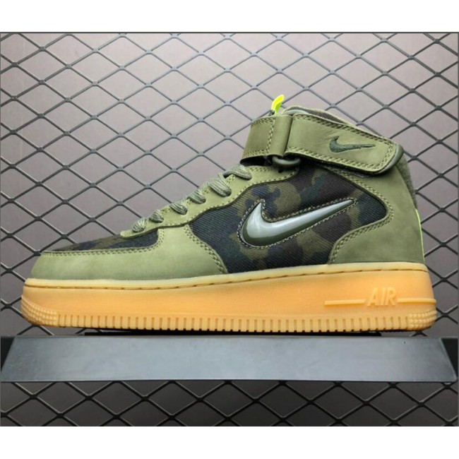 Mens/Womens Nike Air Force 1 Mid Jewel Camo France Olive Gum
