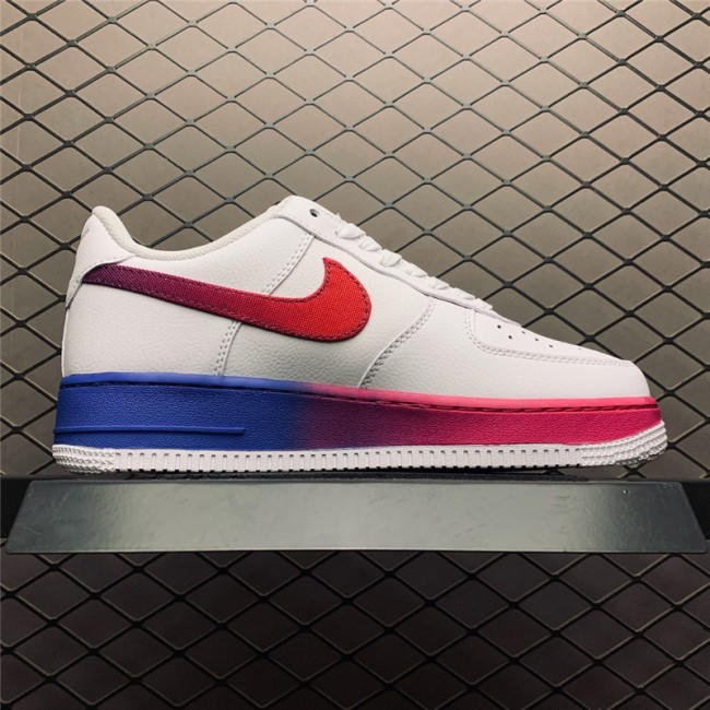 Mens Nike Air Force 107 Low White Red Blue Trainers