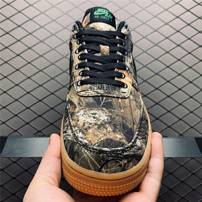 Mens/Womens Realtree x Air Force 1 Low Tan Camo Black Gum Brown