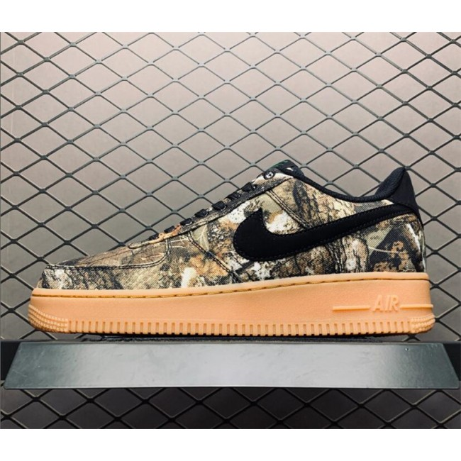 Mens/Womens Realtree x Air Force 1 Low Tan Camo Black Gum Brown