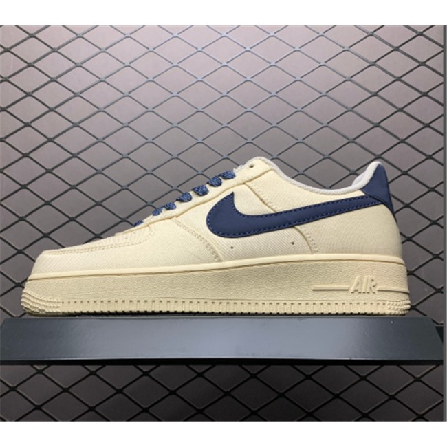 Mens/Womens Nike Air Force 1 07 Beige Deep Blue-Reflection