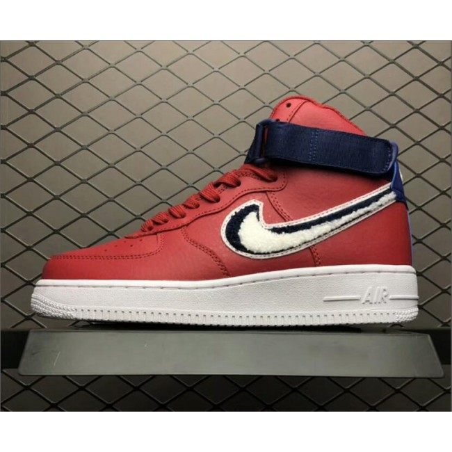 Mens/Womens Nike Air Force 1 High 3D Chenille Swoosh Red White Blue