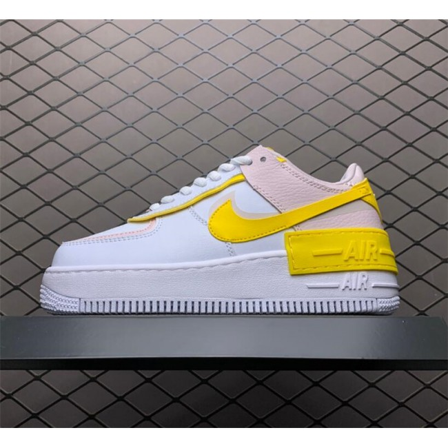 Womens Ladies Nike Air Force 1 Shadow White Barely Rose Speed Yellow