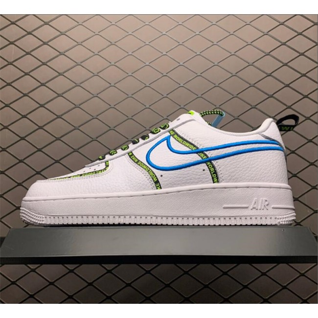 Mens/Womens Men and Nike Air Force 1 07 PRM Worldwide White Blue Fury