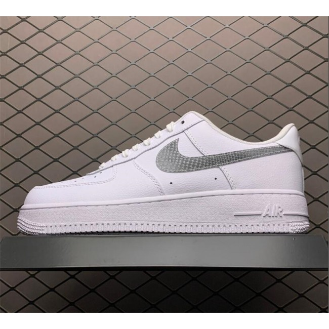 Mens/Womens Nike Air Force 1 Low Blue Snakeskin Pony Hair Swooshes