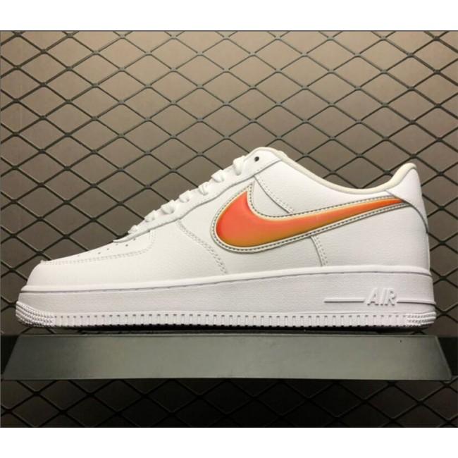 Mens/Womens New Nike Air Force 1 Low Oversized Swoosh White Orange Peel