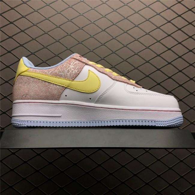 Womens New Nike Air Force 1 White Lemon Chiffon-Pink