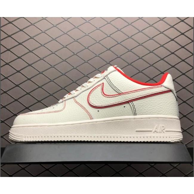 Mens/Womens Nike Air Force 1 Custom Sail Phantom-University Red Sale