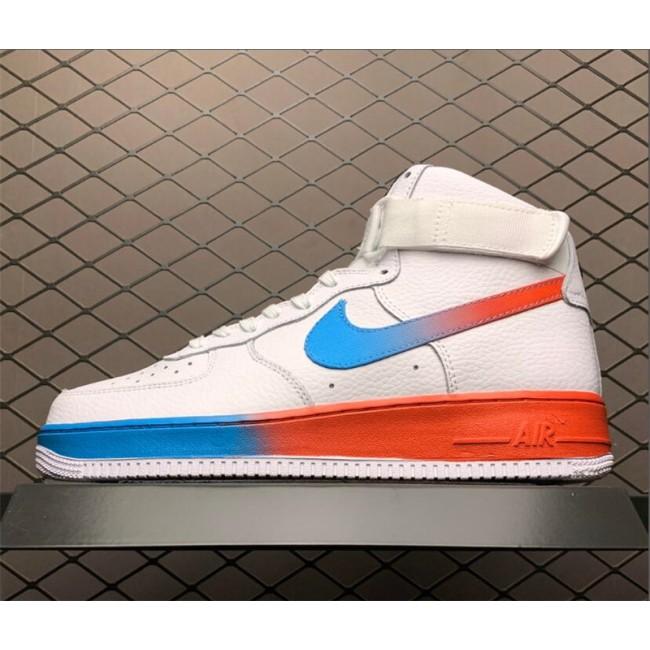 Mens/Womens Nike Air Force 1 High White Blue Fury Black Ember Glow Trainers