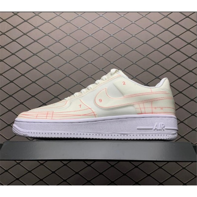 Womens Nike Air Force 1 Low 07 LX Blueprint Summit White University Red