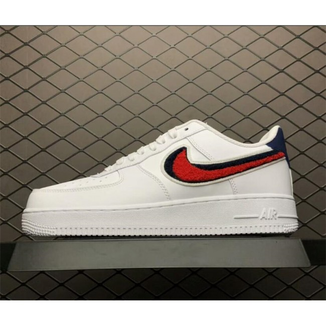 Mens/Womens Nike Air Force 1 Low 3D Chenille Swoosh White Red Blue