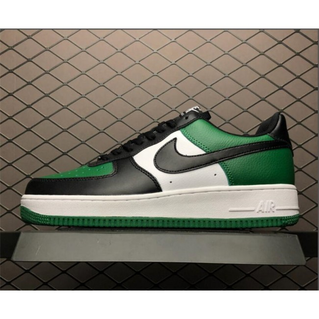 Mens Nike Air Force 1 Low Black-White Pine Green Shoes