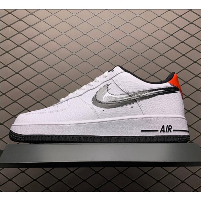 Mens/Womens Nike Air Force 1 Low Brushstroke Swoosh White Black