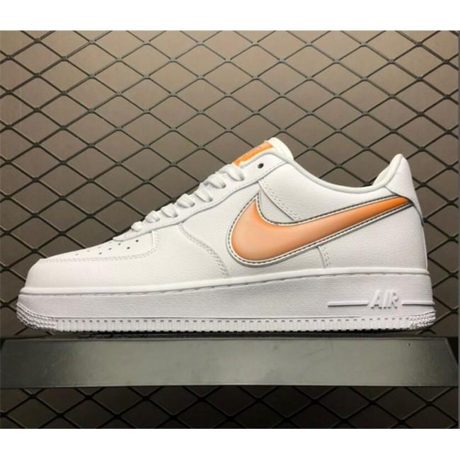 Mens/Womens Nike Air Force 1 Low Oversized Swoosh White Orange Peel