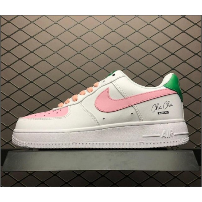 Womens Grade School Nike Air Force 1 GS Low Pink White-Green