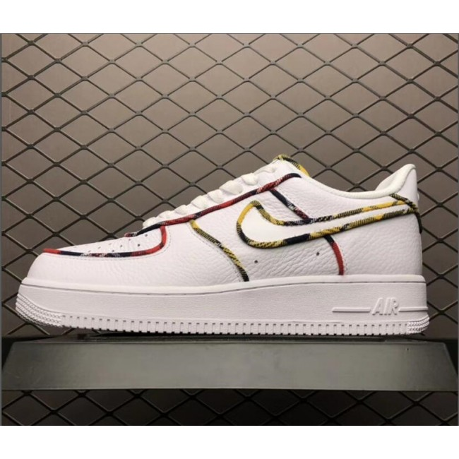 Mens/Womens Nike Air Force 1 Low Tartan White University Red-Amarillo