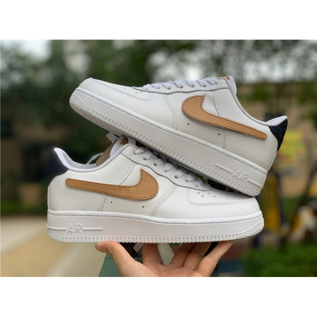 Mens/Womens Nike Air Force 1 Low White Obsidian-Vachetta Tan-White