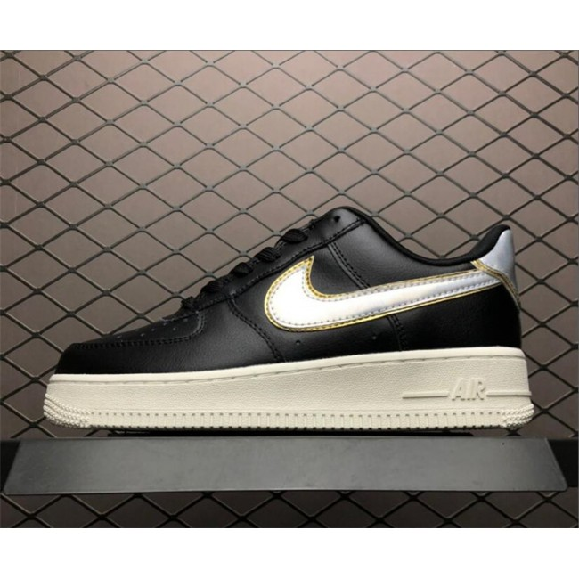 Womens Nike Air Force 1 07 MTLC Black Metallic Platinum White