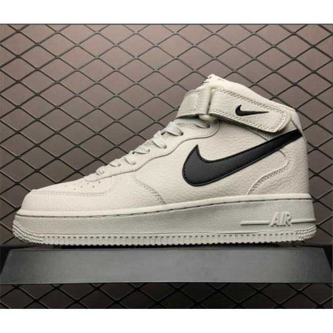 Mens/Womens Nike Air Force 1 Mid 07 Light Bone Black Running Shoes