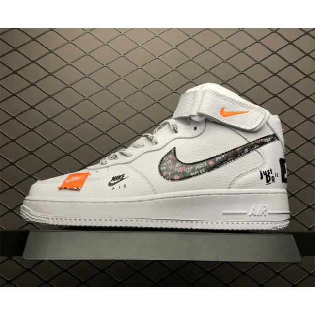 Mens/Womens Nike Air Force 1 Mid Just Do It White Black Orange