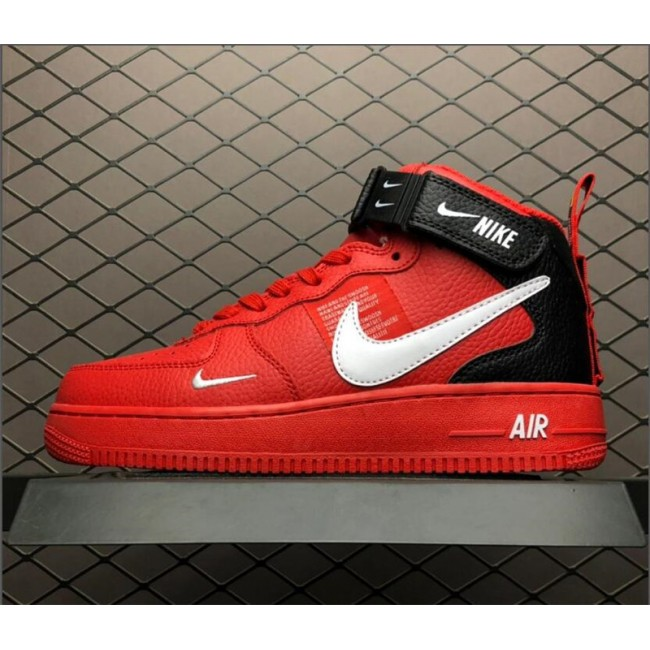 Mens Nike Air Force 1 Mid Utility Red Black 804609-605