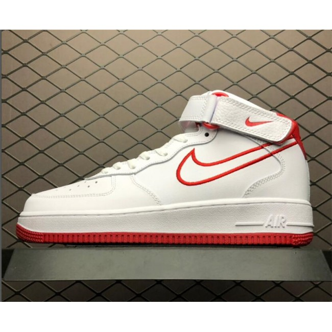 Mens Nike Air Force 1 Mid White Red AQ8650-105