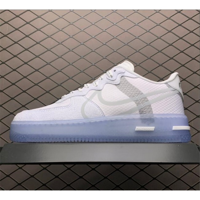 Mens/Womens Nike Air Force 1 React Low QS White Ice With Icy Outsole