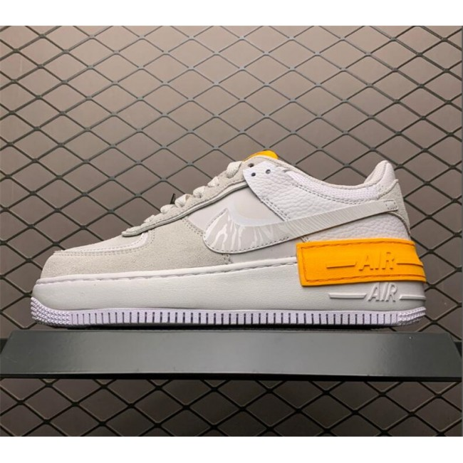 Womens Nike Air Force 1 Shadow Vast Grey Laser Orange