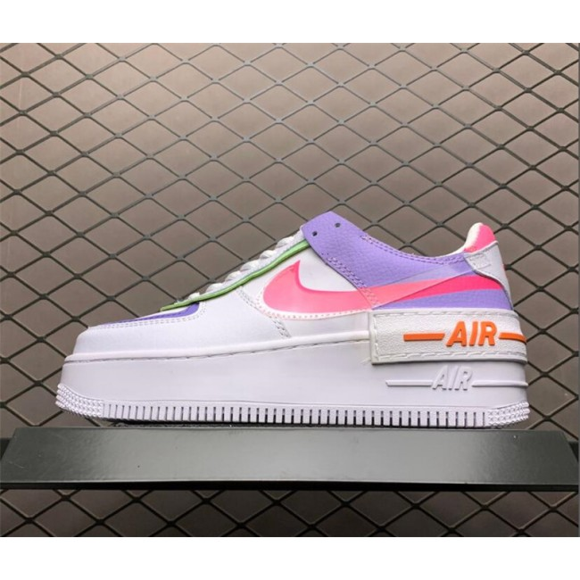 Womens Nike Air Force 1 Shadow White Purple Sneakers CI0919-051