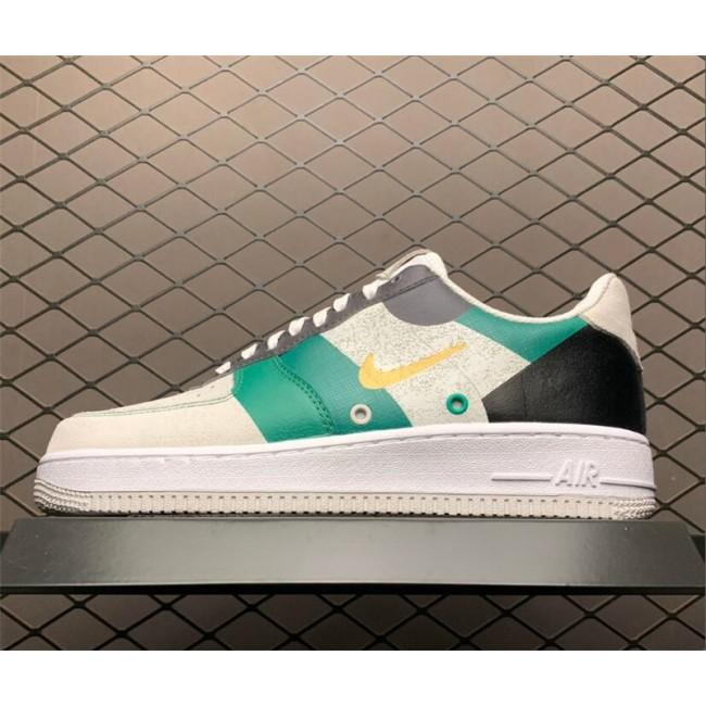 Mens Nike Air Force 1 White Green Black Tennis Shoes