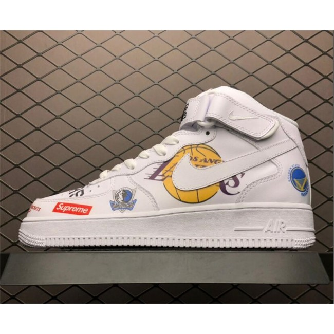 Mens/Womens Supreme x NBA x Nike Air Force 1 Mid 07 White