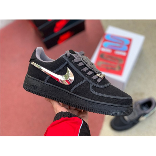Mens Travis Scott x Nike Air Force 1 Black Sale