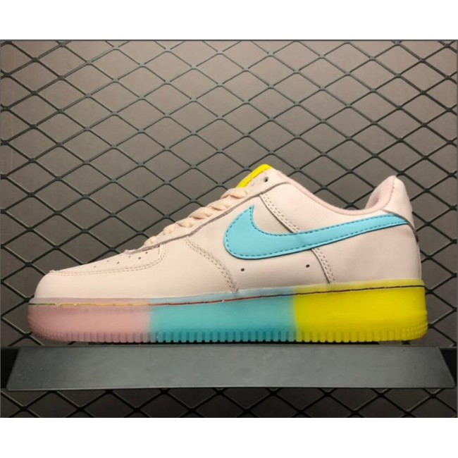 Womens Nike Air Force 1 Low Pink Blue Yellow 596728-020