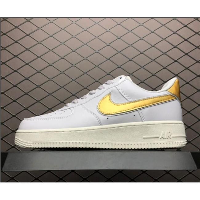 Womens Nike Air Force 1 07 Metallic Pack White Gold