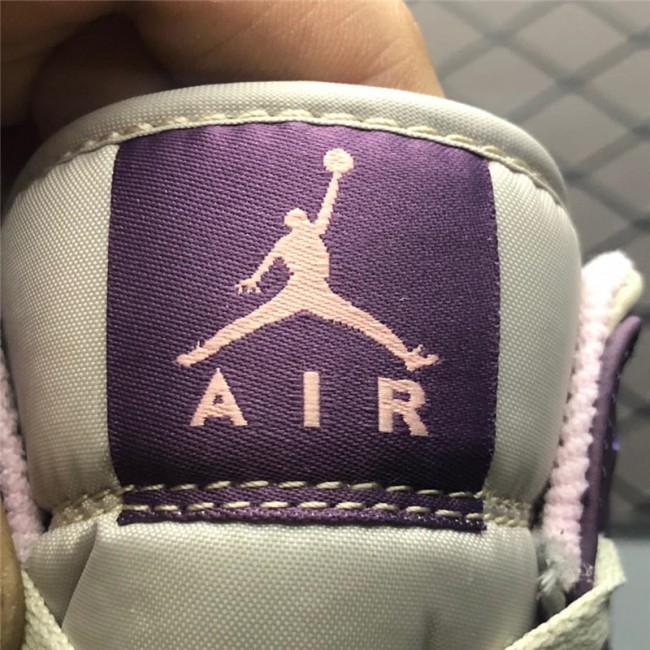 Mens Air Jordan 1 Mid GS Pro Purple/Desert Sand