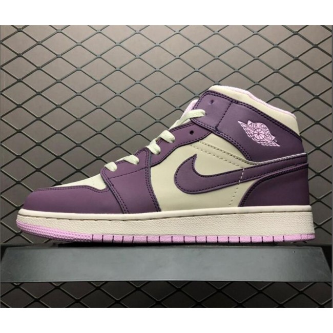 Mens Air Jordan 1 Mid GS Pro Purple/Desert Sand
