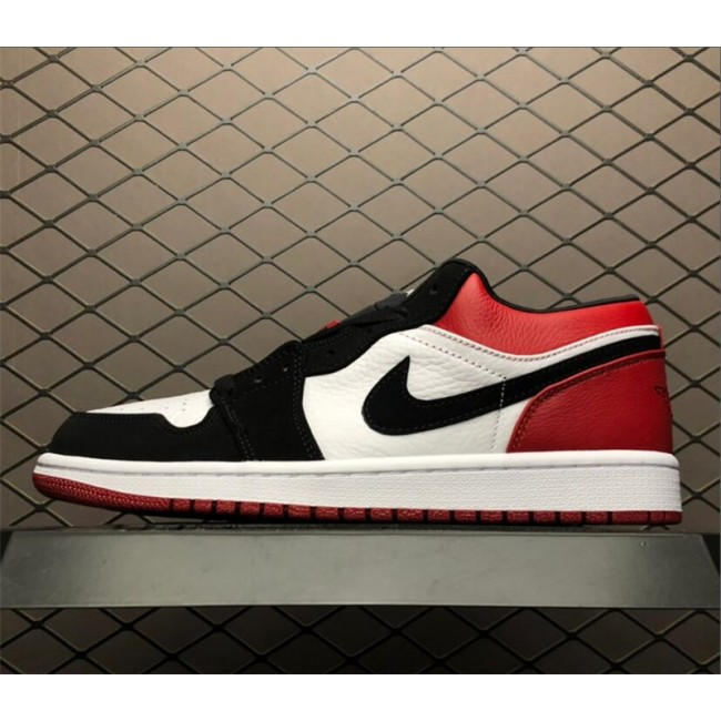 Mens Air Jordan 1 Low Black Toe Black and Red 553558-116
