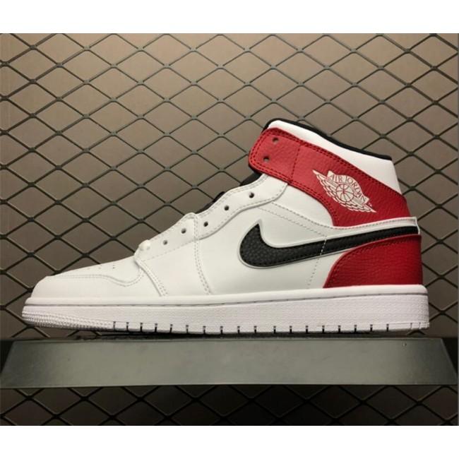 Mens Air Jordan 1 Mid Chicago White Black Red For Sale