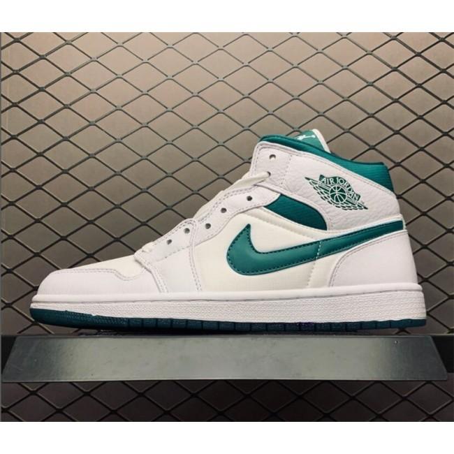Mens/Womens Air Jordan 1 Mid Mystic Green White For Sale