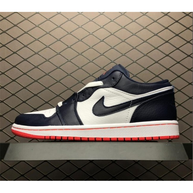Mens Jordan 1 Low-top Obsidian/Ember Glow-White